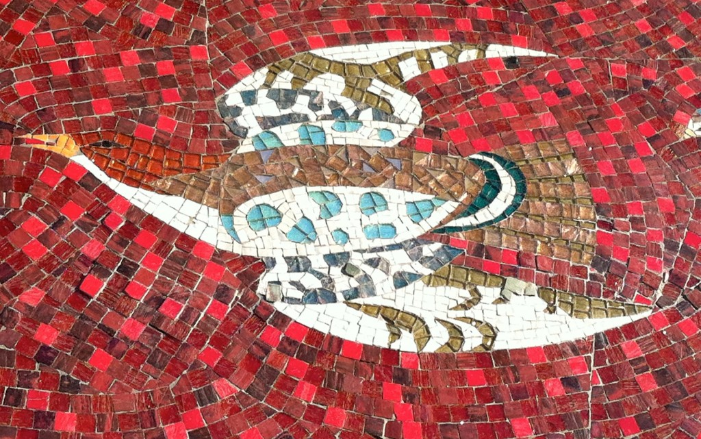 Sheets Studio, bird, mosaic detail, Redondo Beach, before 1961
