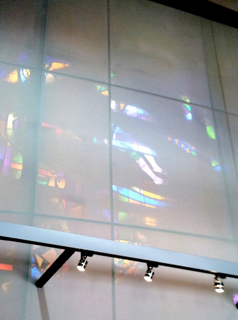 Sheets Studio and Wallis Studio, stained glass, 1970; as covered by a translucent screen, 2012