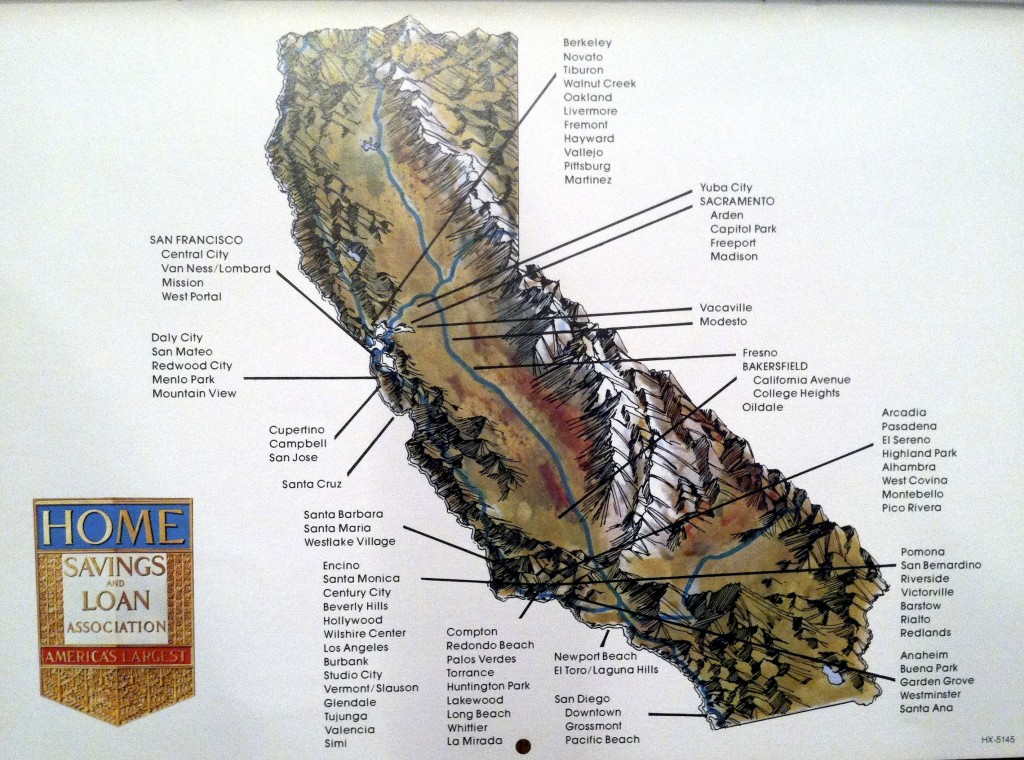 California Home Savings locations on the landscape, Home Savings calendar, 1978. Courtesy of George Underwood.