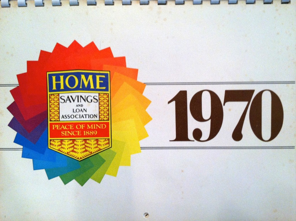 Sheets and George Underwood, Home Savings shield in 2 dimensions, 1970 calendar, courtesy George Underwood