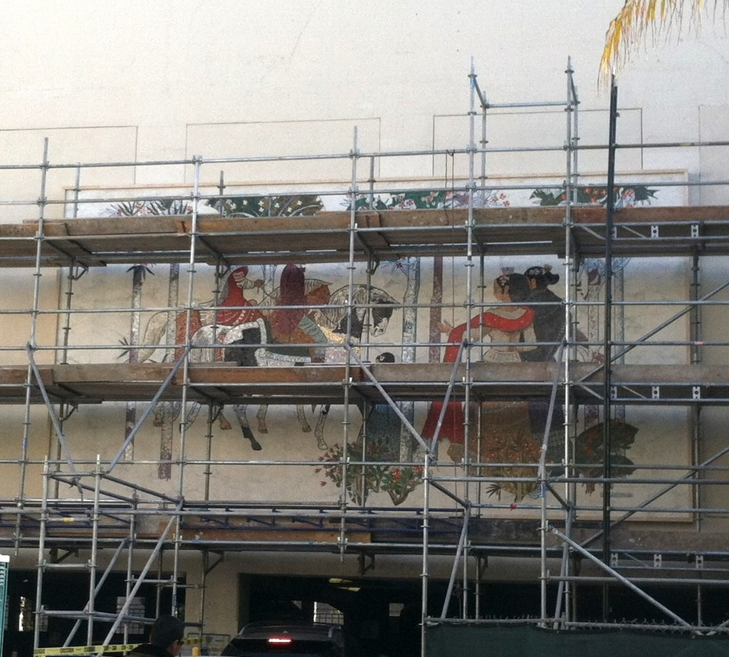 Beverly Wilshire Hotel mosaic being reinstalled at Beverly Hills Civic Center, 2013.