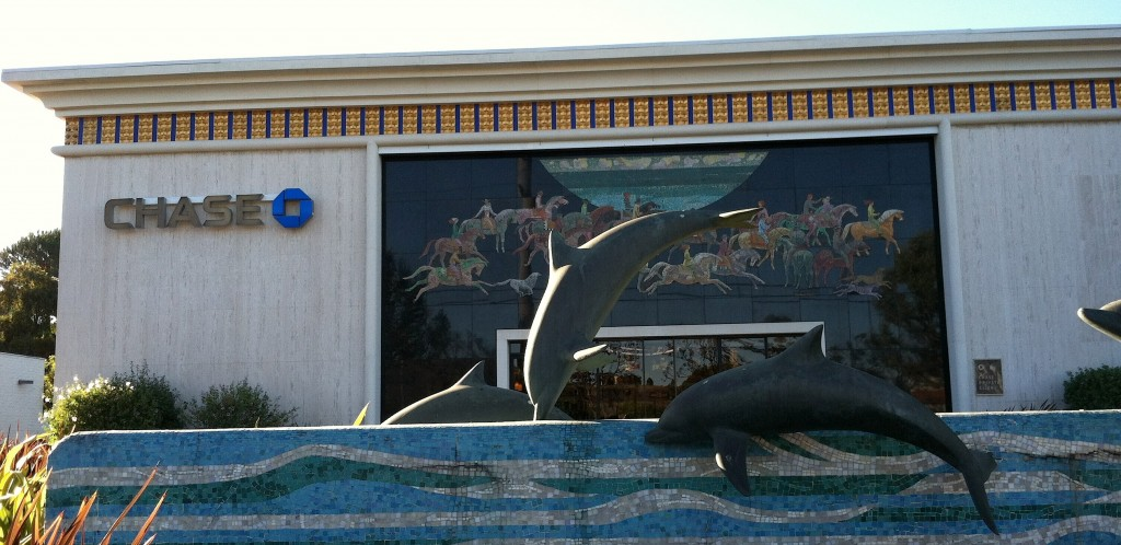 Sheets Studio, Home Savings Rolling Hills, leaping dolphins sculpture and horses mosaic, 1974, Photo by Adam Arenson, 2012.