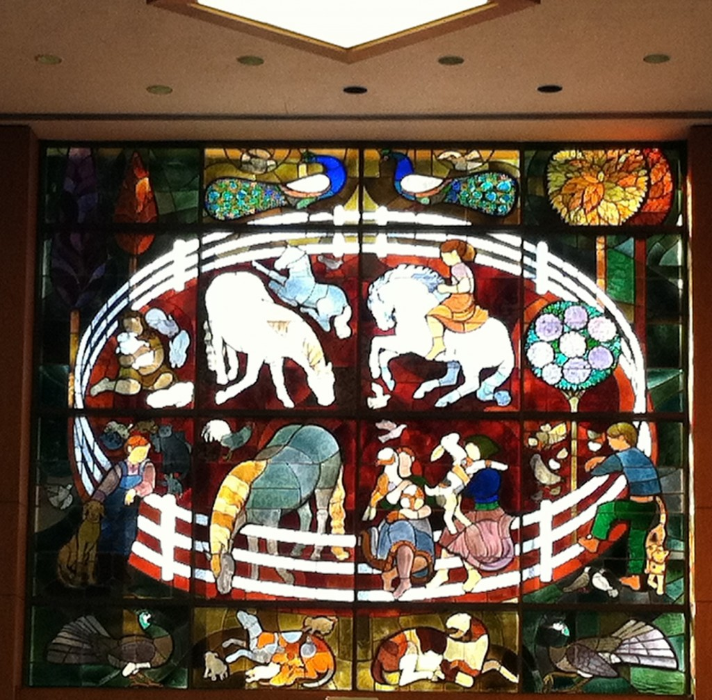 Sue Hertel and John Wallis and Associates, stained glass for Rolling Hills, 1974. Photo by Adam Arenson, 2012.