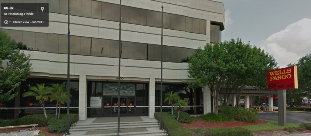 Wells Fargo, a former Home Savings branch in St. Petersburg, FL. Image from Google StreetView; see below for details.